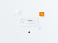 BuyBox arrrow lock shield neumorphism illustration icon vector