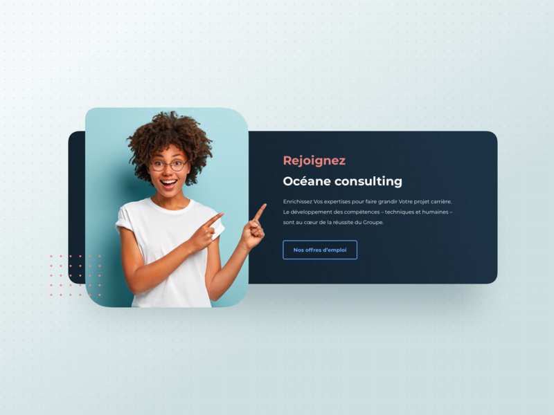 Océane consulting pattern girl webdesign layout hiring testimonial