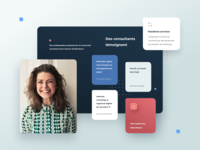 Oceane Consulting project inbound square dots geometric cards ui webdesign girl consulting