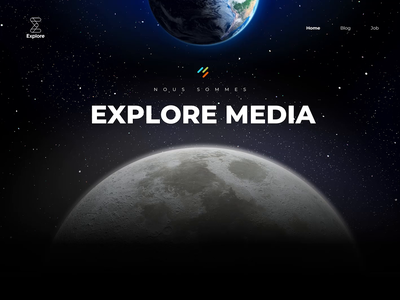 Explore Media webdesign animation moon parallax earth media explore science landing page