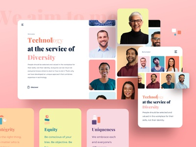 Be Greator geometric gradient portrait webdesign pink ui layout
