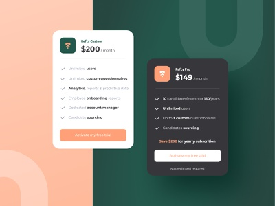 Refty ux ui layout pricing plan pricing price