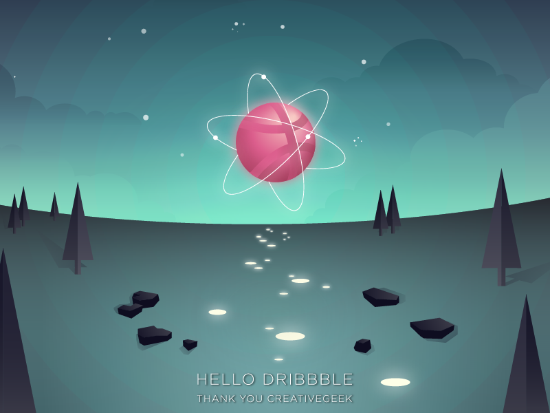 Dribbbledream cloud stars wild atom flat sky geometric dream light night illustrator firstshot