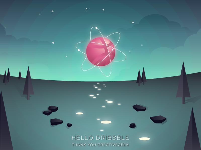 Dribbbledream cloud stars wild atom flat sky geometric dream light night illustrator firstshot