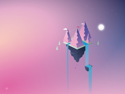 Balance for Business geometric illustration moutain lake sky moon waterfall flag three vector scenery layout