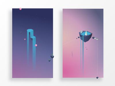Balance for Business dream waterfall gradient sky illustrator scene vector scenery layout