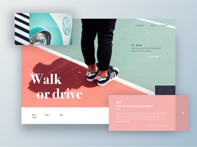 Walk or Drive icon sneakers shoes web site homepage article ux ui webdesign