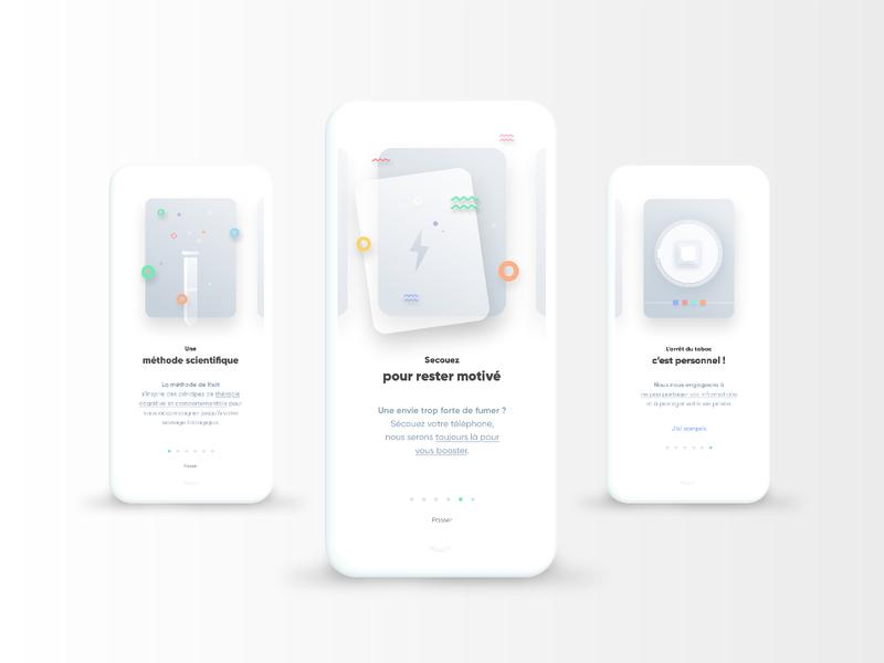 Kwit box geometric layout coloful on boarding app illustration design ux ui vector
