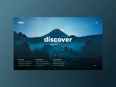 Discover moutain asia night terraces rice design webdesign layout paralax ux ui