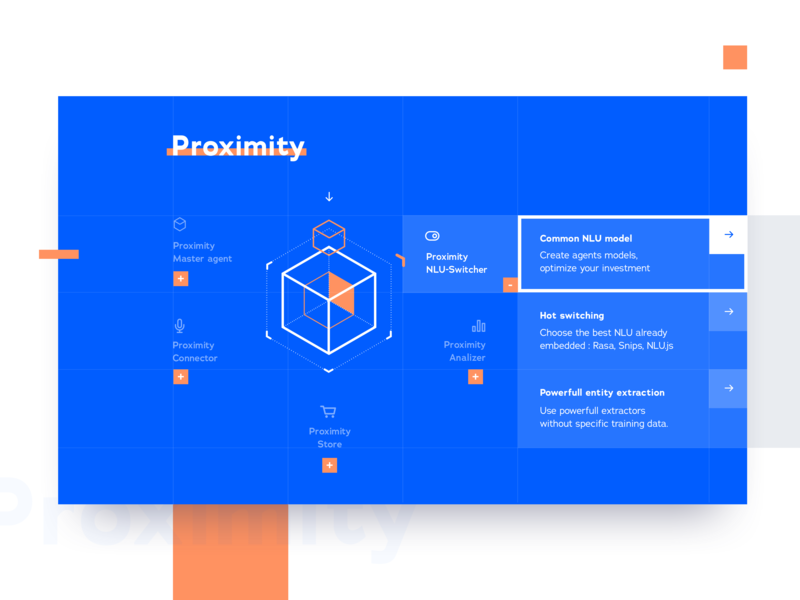 Proximity stat micro store toggle line underline geometric design blue layout ui