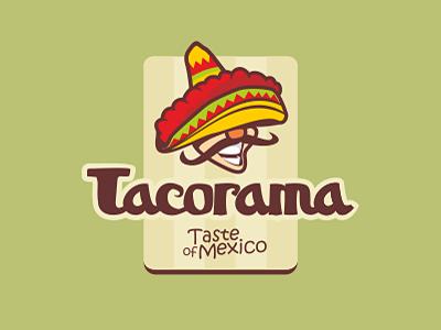Tacorama taco mexico man logo food