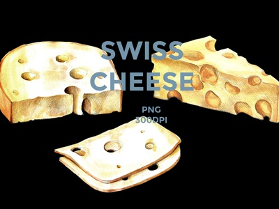 Swiss Cheese Illustrations swiss cheese cheese watercolor illustration creative market