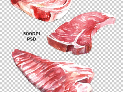 Raw Meat Watercolor package food graphics beef steak meat raw watercolor illustration creative market