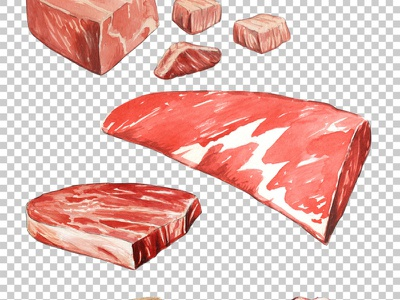 Raw Meat Watercolor restaurant recipe cookbook beef steak meat raw watercolor food illustration creative market