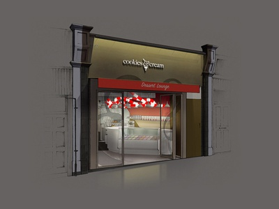 Cookies & Cream Shop front illustration
