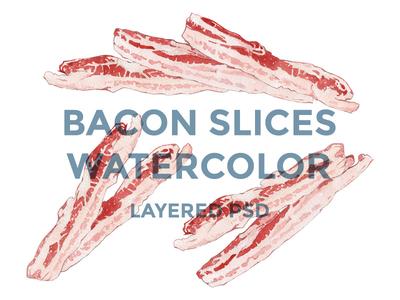 BACON SLICES WATERCOLOR