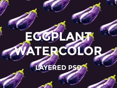 Eggplant watercolor set