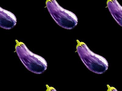Falling eggplants watercolor