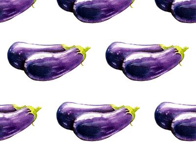 Eggplants on white pattern