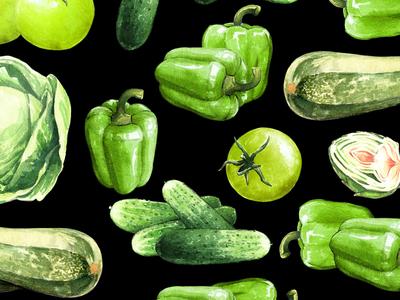 Green Vegetables watercolor
