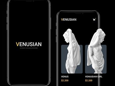 Venusian Art Gallery shop figma gallery sculpture mobile mobile app dark theme app ios android art adobe illustrator creative concept design