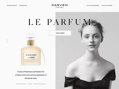 Carven Promo fragrance perfume logo fourhands typography ux ui motion design animation