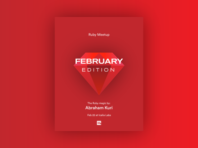 Ruby Meetup 💎 — February typography ruby on rails red flyer poster meetup ruby