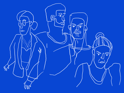 Faces blue people faces live drawing