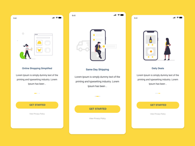 Store Onboarding Screens shop ecommerce store