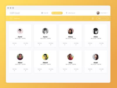 Cofee App Dashboard - Users Listings