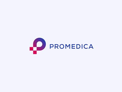 Promedica Logo Concept animation branding clean design flat graphic design logo minimal motion vector medical health healthcare redesign concept logistics blue red gradient brand identity