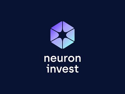 Neuron invest black dark minimal identity clean tech technology invest blockchain crypto teal purple blue design it digital logotype brand branding logo