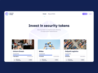 Neuron Invest - Web App tech digital crypto blockchain online token minimal clean ux ux design ui ui design product design interface landing page app product app design website web