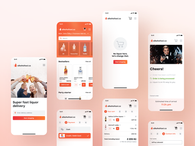 Alcohol taxi - Liquor delivery app estimated time of arrival payment options address online store shop cart ordering shopping ecommerce delivery liquor alcohol orange product design mobile app interface ux ui mobile app