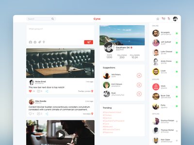 Cyno Redesign timeline website clean ux media social web ui interface