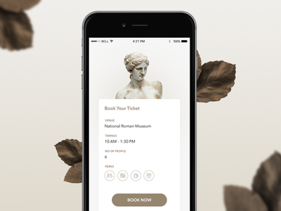 Ticket Booking Interface minimal leaves roman ios iphone ux ui interface user booking ticket museum