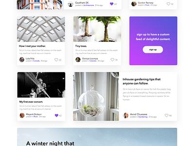 Driffle. A Blogging Platform. blog interface ui ux design landing page sign up login minimal bold
