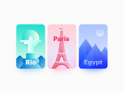 Destinations — Illustration rio paris egypt eiffel tower pyramids illustration gradient vibrant rio de janeiro ui