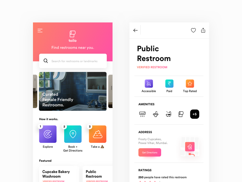 Toilo —  Public Restroom Finder experience user interaction finder toilet vibrant ios mobile app ux ui