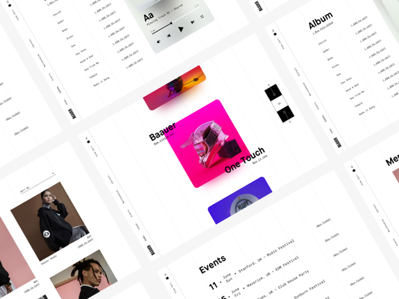 Baauer — Artist Website Redesign music baauer landing page artist ui ux interaction gif animation website web