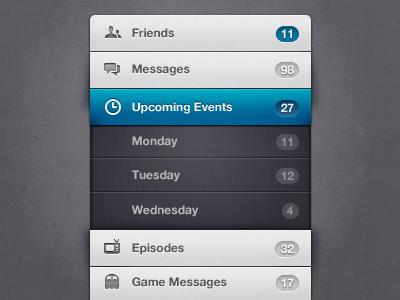 Menu (Rebound) photoshop menu ui accordion navigation iconsweets2