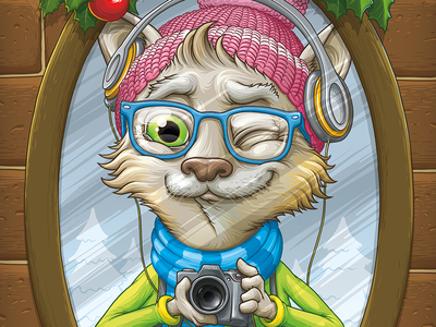 New Year 2014 Postcard: Hipster Cat