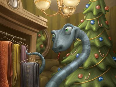 New Year 2013 Postcard: Snake