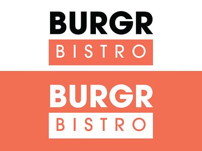 BURGR Bistro Logo Design designer logo design burger colour colors color brand design branding design brand identity brand logodesign logotype logo design logos vector logo designer minimal branding clean