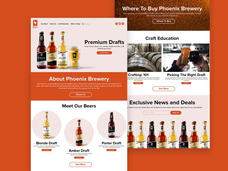Phoenix Brewery Landing Page webdesigner designer web site design portfolio graphic design graphic modern minimal clean beer color design web site website ux ui web