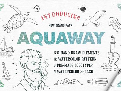 AquaWay Watercolored Vector Pack deal ai eps psd pattern splash logo watercolor font water