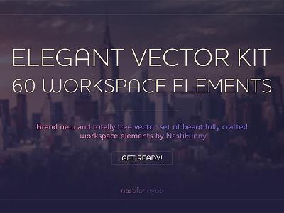 Elegant Vector Kit with 60 Workspace Elements flat kit freebie free psd photoshop elements workspace vector