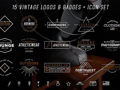 Logos & Icons Bundle badges logos deal iconset icon badge logo vintage
