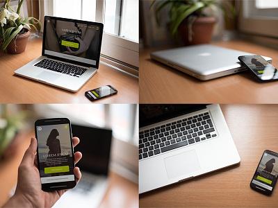 Smartphone & Notebook PSD Mockups desktop free freebie mockups psd smartphone notebook mockup