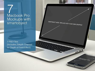 Macbook PSD Mockup designer desk computer psd mockups desktop mockup